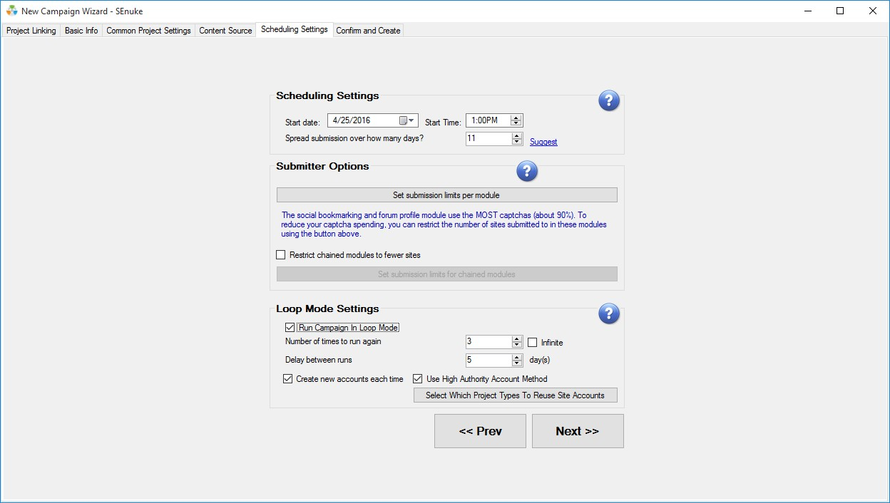 Senuke TNG Scheduling Settings